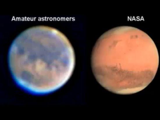 Immagine di Marte amatoriale e Nasa 1