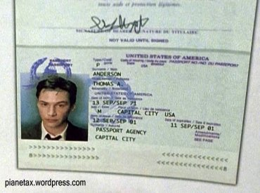Passaporto di Neo dal film The Matrix girato nel 1998