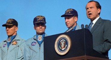 Swigert, Haise, Lovell con il presidente Nixon al ritorno