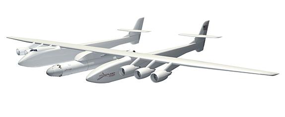 Disegno dell'aereo gigante Stratolaunch Systems