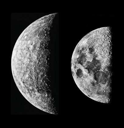 Mercurio e la Luna in scala
