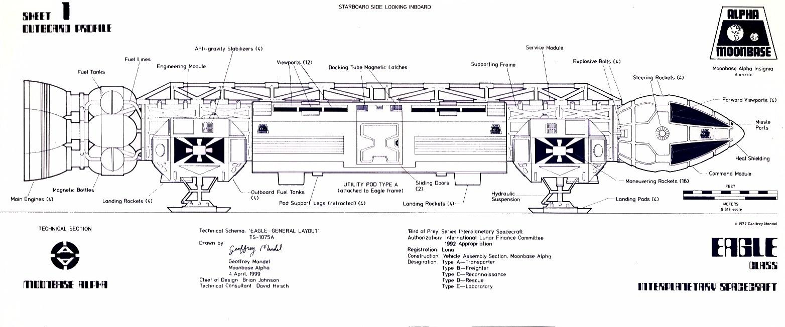 Disegno tecnico di un'Aquila di Spazio 1999