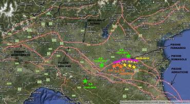 Mappa faglie sismiche in pianura padana