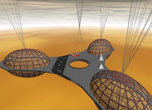 Rappresentazione artistica di avamposto, base scientifica su Venere sostenuta da palloni aerostatici