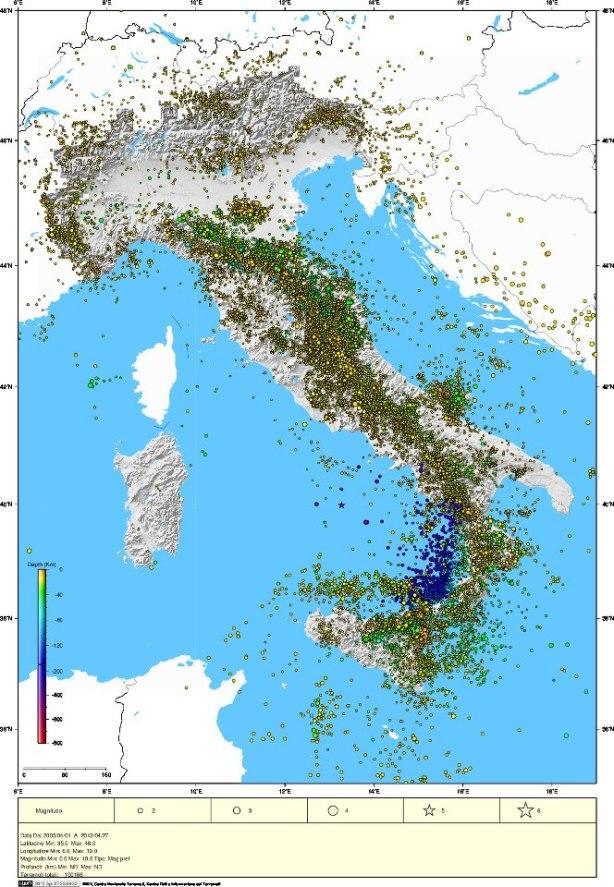 Mappa dei sismi in Italia (Iside)