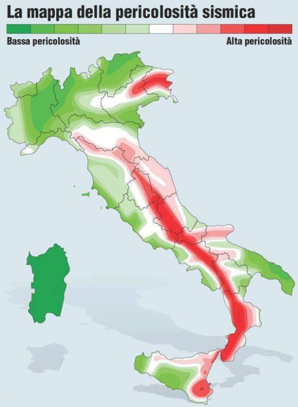 Carta sismica dell'Italia a lettura facilitata - Clicca per ingrandire