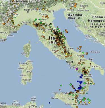 Cartina dei terremoti in Italia - giugno 2013