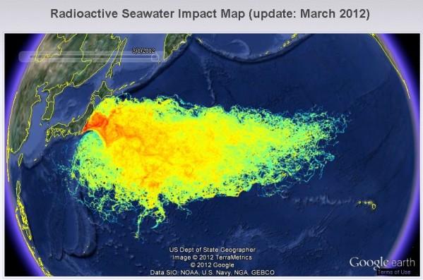 Distribuzione radiazioni nucleari nell'oceano Pacifico - 2012