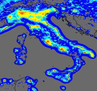 Visibilità stellare in Italia - mappa - clicca per ingrandire