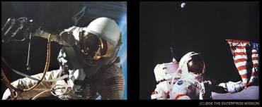 Comparazione del riflesso nelle visiere degli astronauti