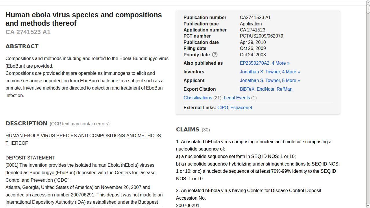 Brevetto americano di Ebola CA 2741523 A1