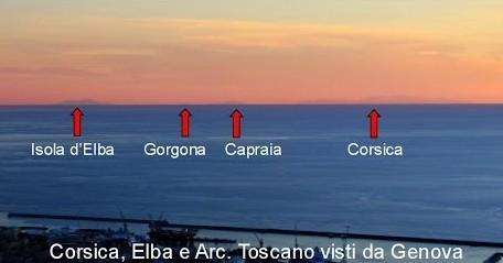 Arcipelago toscano e Corsica visti da Genova
