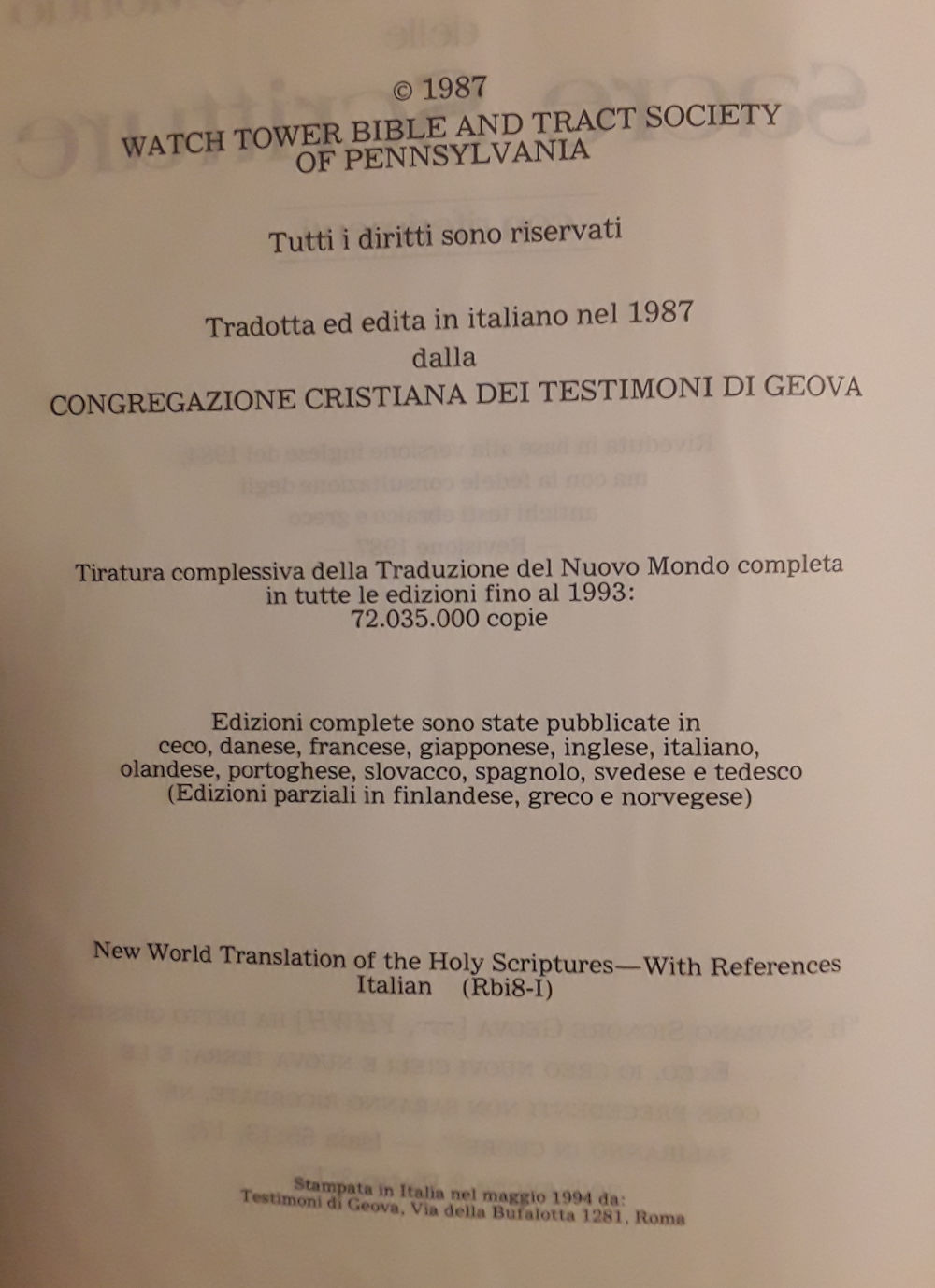 Bibbia dei testimoni di Geova edizione